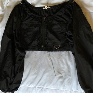 Forever 21 Black Windbreaker Crop Top